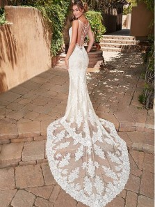 Lace Tulle V-Neck Mermaid Beach Wedding Dress With Pearl