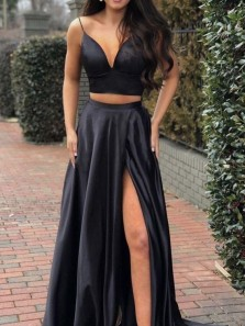 Chic Two Piece A-Line V Neck Spaghetti Straps Open Back Yellow Satin Long Prom Dresses,High Split Evening Party Dresses