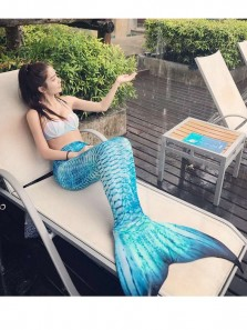 Wade Summer Mermaid Swimsuit ,Sexy Suit Swimsuit with Fins Split New 3 Piece