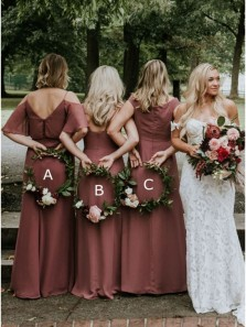 Chic A-Line Long Mismatched Dusty Rose Boho Bridesmaid Dresses
