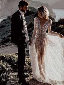 Sparkly A-Line See Through Long Sleeves Open Back Sequins Wedding Dresses with Train,2021 Bling Bling Bridal Gown