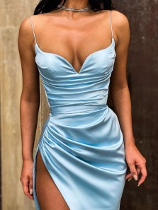 Sexy Mermaid Sweetheart Spaghetti Straps Sky Blue Satin Long Prom Evening Dresses,Formal Party Dresses with High Slit