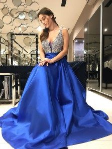 Sparkly Sequins Royal Blue Long Prom Dress
