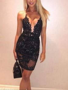 Unique Bodycon Spaghetti Straps Open Back Lace Cocktail Party Dresses,Short Prom Dresses