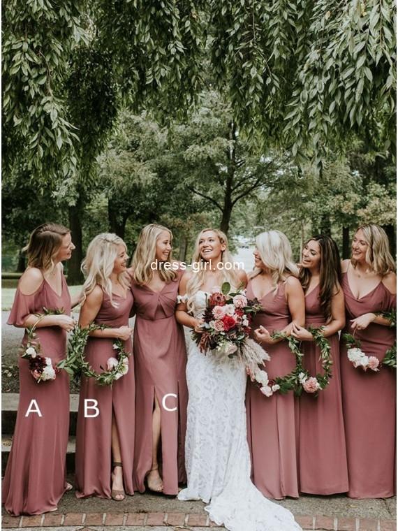 Chic A-Line Long Mismatched Dusty Rose Boho Bridesmaid Dresses