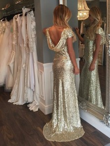 Fishtail Skirt Sheath Crew Neck Cap Sleeveless Sweep Train Gold Sequins Prom Dress