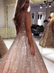 Sparkly Ball Gown V Neck Champagne Sequins Long Prom Dresses,Evening Party Dresses,Quinceanera Dresses Sweet 16 Party Dresses DG1225006