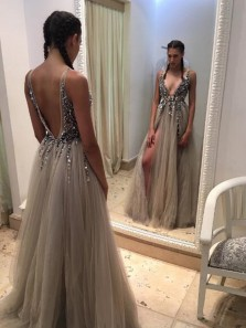 sexy v neck grey long prom dress with side slit, 2018 prom dress, party dress, formal evening dress