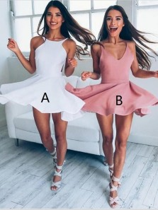 A-Line V-Neck Brush Stain Junior Short Party Homecoming Dress Under 100$
