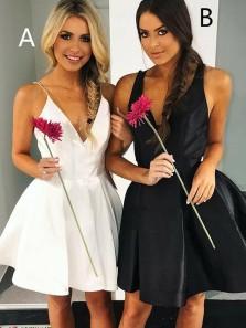 A-Line V-Neck Backless Party Dress Homecoming Dress Under 100$ Sexy Black Dress HC0014