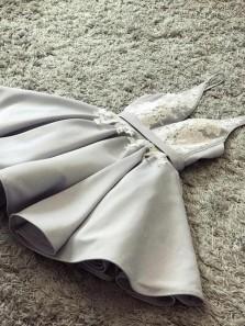 A-Line Sexy Deep-V-Neck Silver Short Prom Dresses Evening Party Dress Under 100$