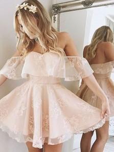 Princess Off the shoulder Ruffle Short Homecoming Dress Party Dress