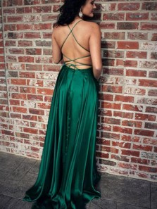 Simple A-Line Scoop Neck Open Back Yellow Elastic Satin Long Prom Dresses with Side Split,Evening Party Dresses DG1226008