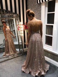 Sparkly A-Line V Neck Backless Champagne Sequins Long Prom Dresses with Train,Formal Evening Party Dresses,Glitter Dresses