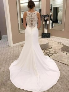Mermaid Round Neck Long Satin Wedding Dress with Lace