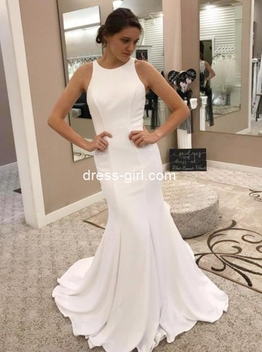 Mermaid Round Neck Long Satin Wedding Dress with Lace