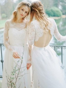 Charming A-Line Round Neck Open Back Tulle wedding Dress with Lace Sleeves