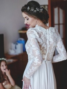 Elegant A-Line V-Neck Sweep Train Chiffon Wedding Dress with Lace Sleeves