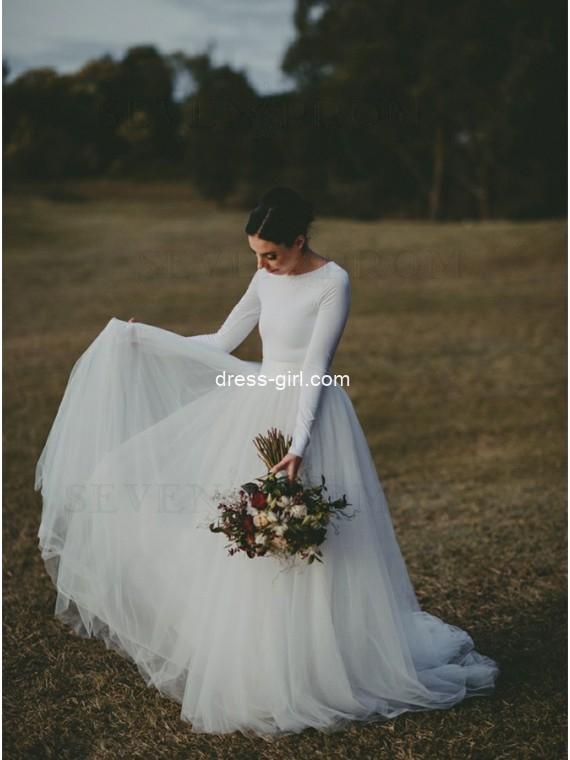 Elegant A-Line Round Neck White Tulle Satin Wedding Dresses