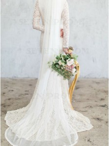 Sheath Jewel Lace Wedding Dress with Long Sleeves Bridal Gown Split