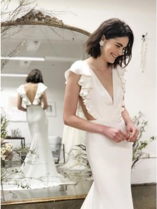 Classy Mermaid V-Neck Cap Sleeves Backless White Satin Wedding Dresses with Ruffles