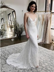 Gorgeous Mermaid Spaghetti Straps Sweep Train White Appliqued Wedding Dress