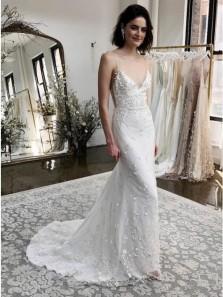 Gorgeous Mermaid Spaghetti Straps Sweep Train White Appliqued Wedding Dress