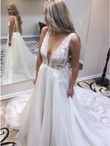 Stylish  A-Line V-Neck Backless White Chiffon Wedding Dress with Appliques