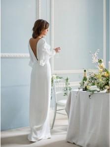 Elegant Sheath V-Neck Long Sleeves Floor-Length Split Wedding Dress with Ruffles
