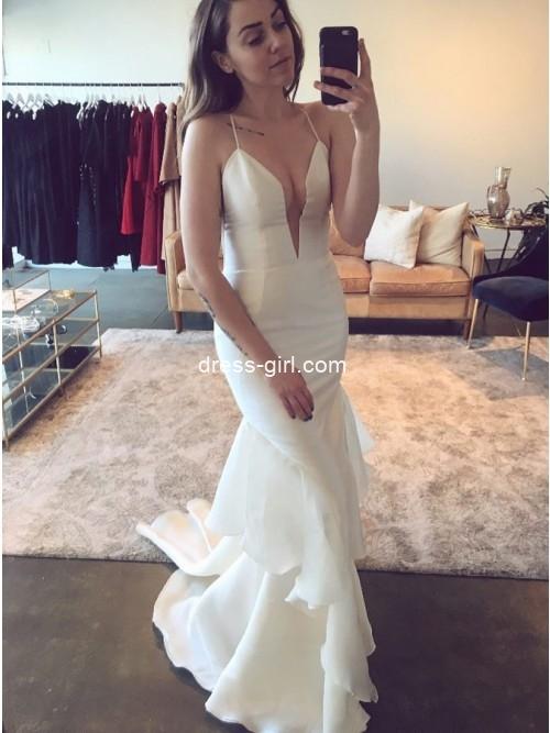 Simple Mermaid V Neck Open Back White Wedding Dresses with Ruffles