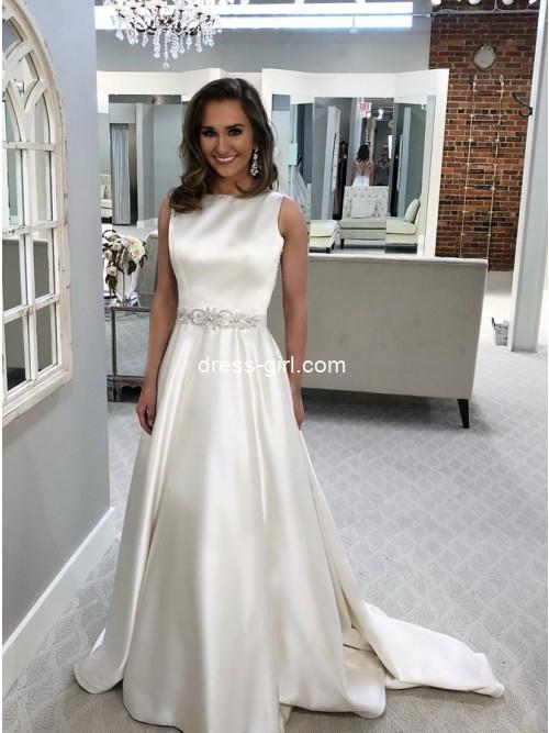 A-Line Bateau Backless Sweep Train White Satin Wedding Dress with Beading
