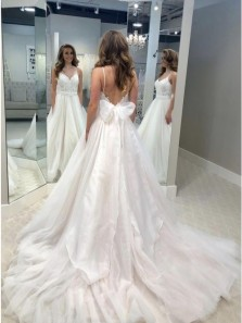 A-Line Spaghetti Straps Backless Sweep Train Wedding Dress with Appliques Bowknot
