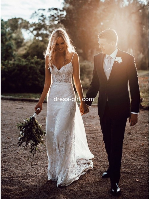 Chic Sheath V Neck Spaghetti Straps White Lace Wedding Dresses