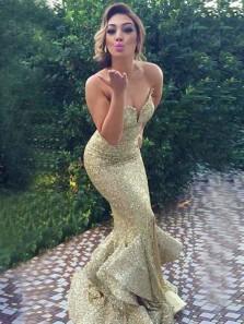 Mermaid Sweetheart Sweep Train Gold Sequin Prom Dress with Ruffles