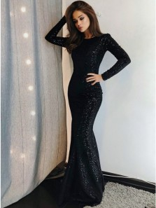 Gorgeous Mermaid Round Neck Long Sleeves Black Sequins Long Prom Evening Dresses