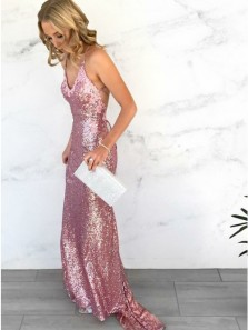 Sparkly Mermaid V Neck Cross Back Rose Pink Sequins Long Prom Evening Dresses with Appliques