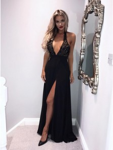 Charming A-Line Halter Backless Black Long Prom Evening Dresses with High Split