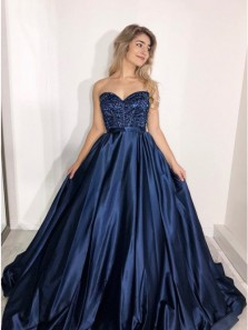 Elegant A-Line Sweetheart Navy Blue Satin Long Prom Dresses with Beading,Charming Formal Party Dresses