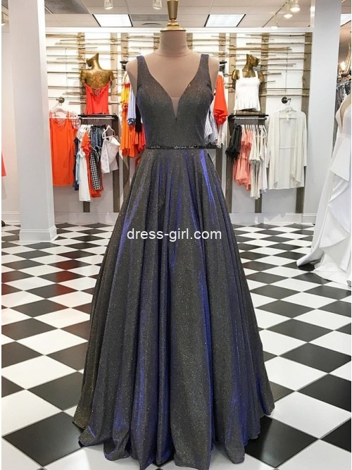 A-Line V Neck Grey Sparkly Satin Long Prom Evening Dresses with Beading.Formal Party Gown