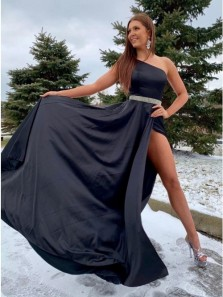 Chic A-Line One Shoulder Black Satin Long Prom Dresses with High Split and Beading,Formal Evening Party Dresses