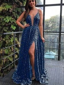 Luxurious Spaghetti Straps Long Blue Evening Dress with Split Sequin Prom Dress