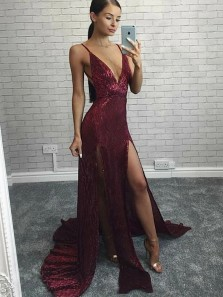 Classy A Line Spaghetti Straps Long Sequin Burgundy Prom Dress with Split