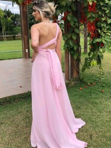 Simple A-Line One Shoulder Pink Chiffon Long Prom Evening Dresses with Split Under 100