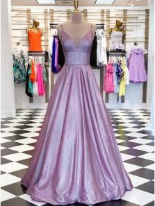 Sparkly Ball Gown V Neck Open Back Lavender Sequins Long Prom Dresses,Formal Party Dresses 190613009