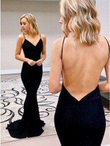Cheap Mermaid V Neck Black Backless Long Prom Evening Dresses Under 100