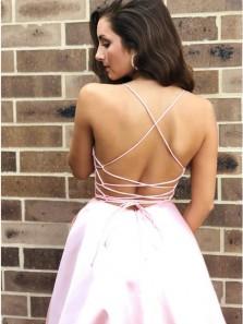 Simple A-Line V Neck Cross Back Pink Satin Long Prom Evening Dresses,Formal Party Dresses