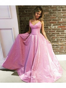 Gorgeous A Line Spaghetti Straps V Neck Sweep Train Pink Sequined Satin Prom Dress