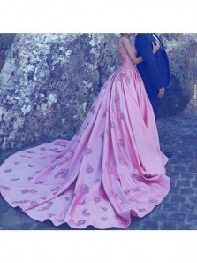 Luxurious Fuchsia V Neck Wedding Dresses with Applique ,Court Train Open Back Straps Custom Wedding Dress Sale Online