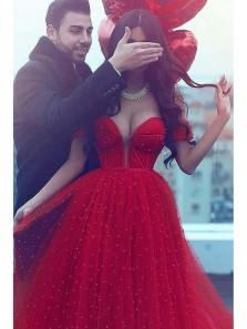 Charming Ball Gown Off the Shoulder Court Train Dark Red Tulle Prom Dress
