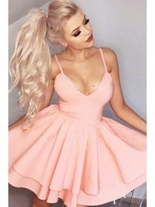 Sexy V Neck Strap Homecoming Dress, Back To School Dress, Short Prom Dresses For Teens Under 100